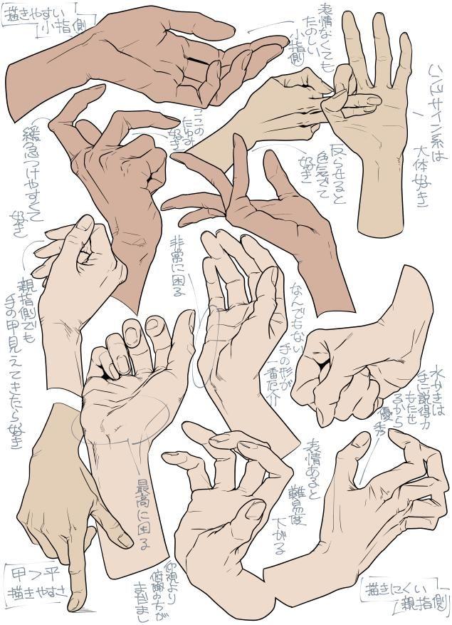 手は小指側から見るほうが綺麗だと思うので 小指側・甲>小指側・平>親指側・甲>>>>親指側・平 の順で描くの好き。ていうか親指手前の手の平がシルエット出しにくいし嘘つけないし難しい、苦手