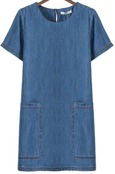 Blue Short Sleeve Pockets Straight Denim Dress 21.00