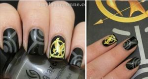 Hunger Games Mocking Jay Nail Art