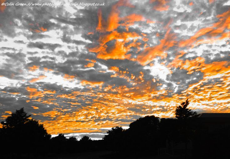 Another of the fiery night sky over Brechin, Scotland, I removed the colour to…