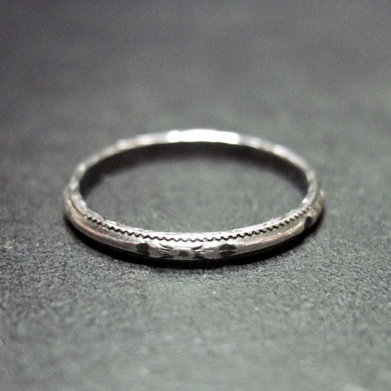 Vintage Art Deco Wedding Ring Band Narrow Thin Sterling Silver Size 6 25 Antique Jewelry Stacking 1920s Theme 1920 S