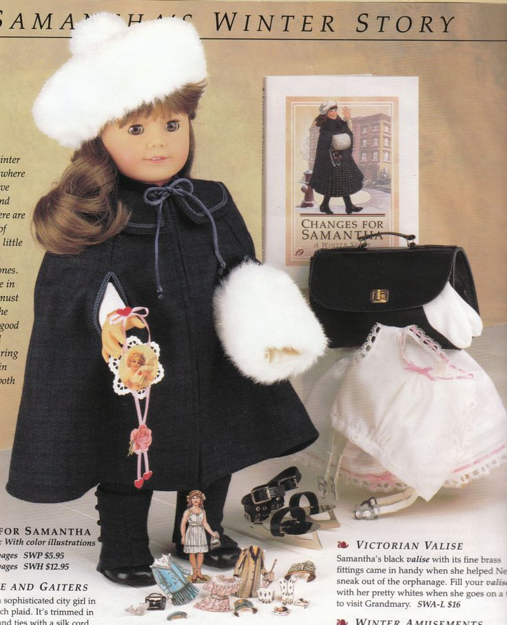 American Girl Samantha's Winter Story Pamphlet About Ice Skating Cape Paper Doll (I still own this doll and nearly everything else in this picture!!!!)