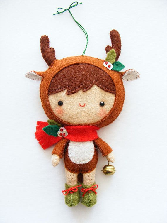 PDF pattern - Reindeer pixie - Felt softie, Christmas tree ornament, hand sewing…