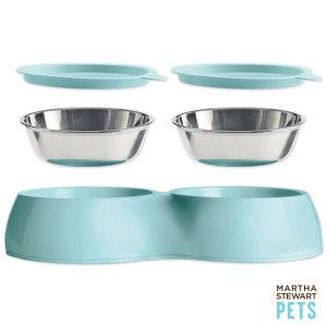 To take Lenny camping - - in Ivory size Medium  Martha Stewart Pets™ Double Feeder Dog Bowl $27.99