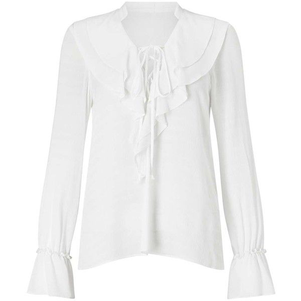 Miss Selfridge Ivory Ruffle Victoriana Lace Up Blouse ($68) ❤ liked on Polyvore featuring tops, blouses, ivory, miss selfridge and miss selfridge tops