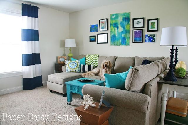 Great ideas for a cheerful and comfortable family media room. Paper Daisy Designs: Media Room Reveal, A Budget Makeover