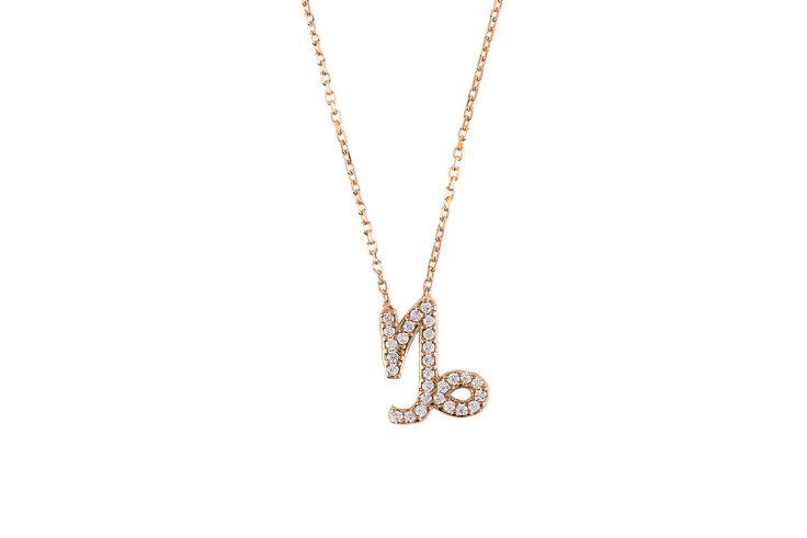 Capricorn zodiac necklace rose gold Made of 925 sterling silver. Capricorns celebrate birthdays December 22 - January 19