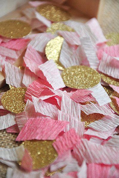 Pink and Gold Glitter Confetti Wedding by courtneyorillion