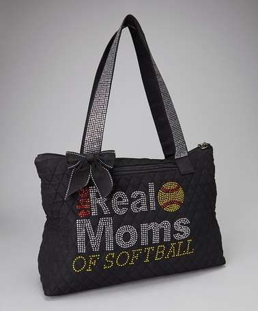 Take a look at this Black 'Real Moms of Softball' Quilted Rhinestone Tote by All Things Crystal on #zulily today! 29.99