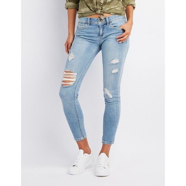 Charlotte Russe Destroyed Mid-Rise Skinny Jeans ($25) ❤ liked on Polyvore featuring jeans, light wash denim, denim jeans, destroyed jeans, distressed jeans, destructed skinny jeans and skinny jeans