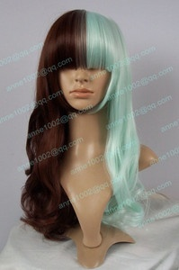 New Cosplay Lolita Brown & Mintcream Mixed long Curly Wig 20.09