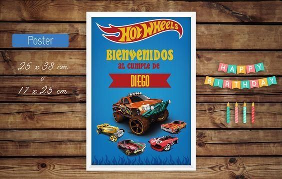 #poster #cartel bienvenida #cumple #hot #wheels #kits #kit #fiesta #diseño #autos #cars #azul #naranja #carreras # #print #cumpleaños #infantil #bebe #decoracion