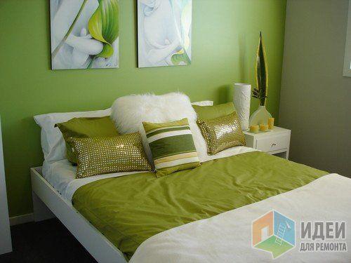 Зеленая спальня, оттенки салатового в интерьере спальни