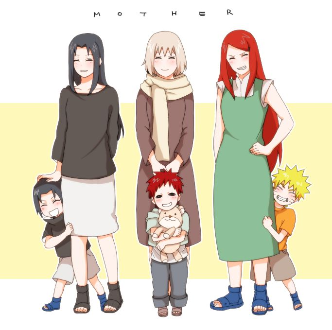 Mikoto, Sasuke, Gaara's mother, Gaara, Kushina, and Naruto. What's funny os that without knowing the show, you'd think Kushina would actually be Gaara's mom and vice versa because of their hair