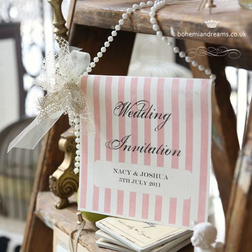 Inspired by vintage sweets wrappers and French chic elegance, the Delicious wedding invitation is a medallion card that can be hanged by it's handle of cream pearls. Price starts from £5.99