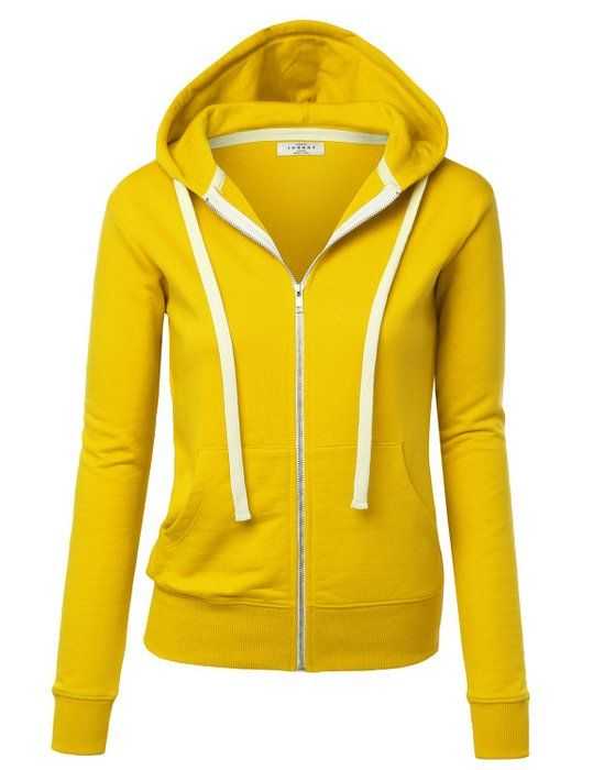 MBJ WSK193 Womens Active Soft Zip Up Fleece Hoodie Sweater Jacket XXXL YELLOW