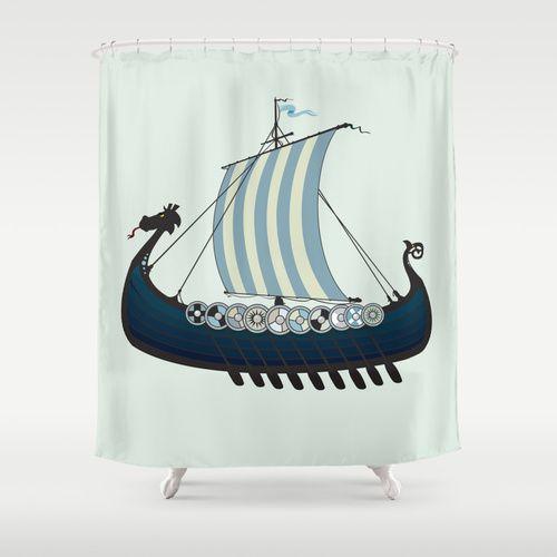 Blue Viking Ship Shower Curtain