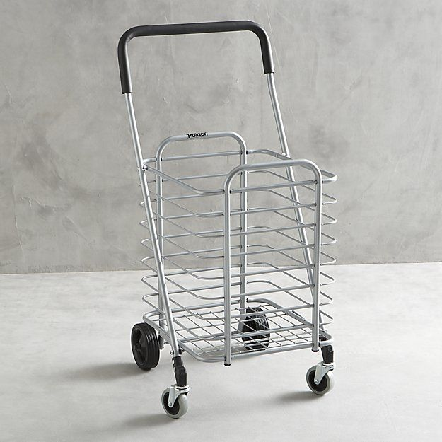 Polder ® Folding Shopping Cart with Insulated Grey Liner | Crate and Barrel