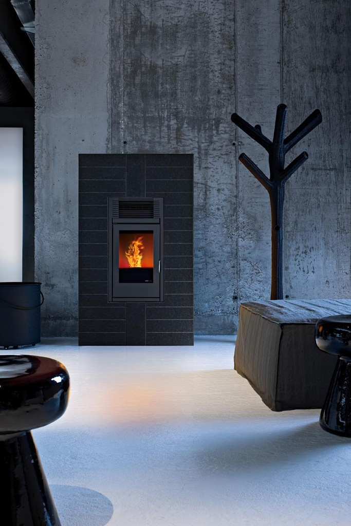 Pellet stove that feels like a fireplace.