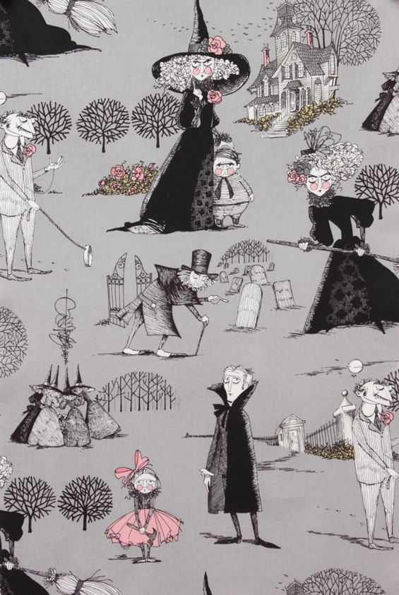 The Ghastlies in Smoke by Alexander Henry - 1 Yard - Gray - Halloween Fabric - Ghastlies - Quilt