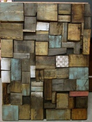All different textures of old patinas and stripped wood.  I see a wall feature.