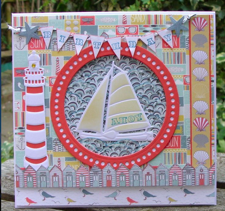Girls, boys, men and women of all ages will love Martina Murray's summery seaside design. She's used First Edition's Sail Away papers with nautical dies by Marianne Design to create a layered coastal scene, which is jam-packed with icons of the British seaside from seagulls and lighthouses to beach huts and bunting. Enjoy!