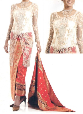 White lace, red songket