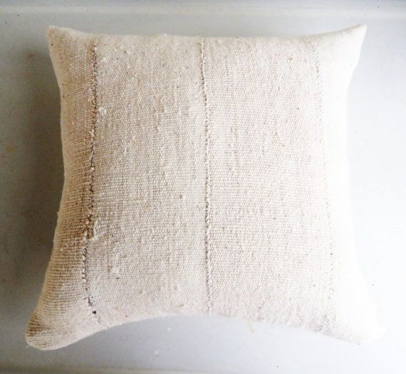 White African Mudcloth Pillow Cover - Cream Earthy Bohemian Accent Pillow - Neutral Pillows