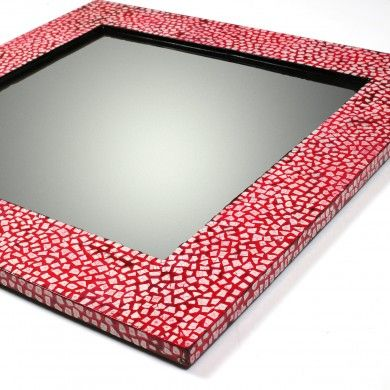 A vibrant #redsquaremirror that radiates with the intricate #eggshell work around the border.
