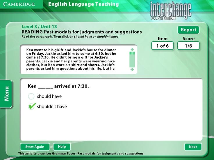 Interchange 4th Edition Arcade: Cambridge University Press - Level 3/Unit 13 - Reading