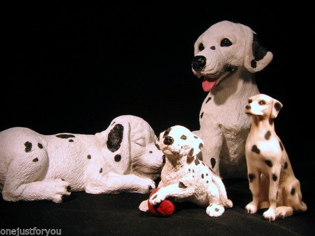 Stone Critters Dalmatians Four Dogs Three Puppies One Adult