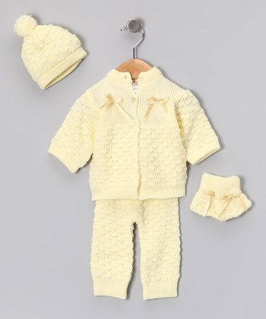Take a look at this Yellow Knit Cardigan & Pants Set - Infant by Blow-Out on #zulily today! #fall