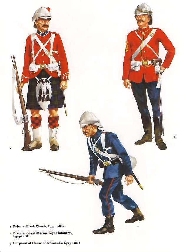 British; Egypt 1882. 1. Black Watch, Private. 2. Royal Marine Light Infantry, Marine. 3. Life Guards Corporal of Horse.