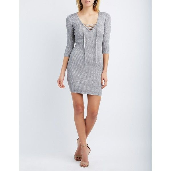 Charlotte Russe Shimmer Lace-Up Sweater Dress ($20) ❤ liked on Polyvore featuring dresses, gray metallic, bodycon sweater dress, 3/4 sleeve dress, grey dress, deep v neck dress and sweater dresses