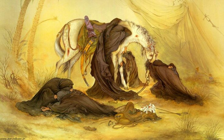 "The Evening of Ashura,"" has been created by the world-famous Iranian painter, Mahmoud Farshchian, in 1976."