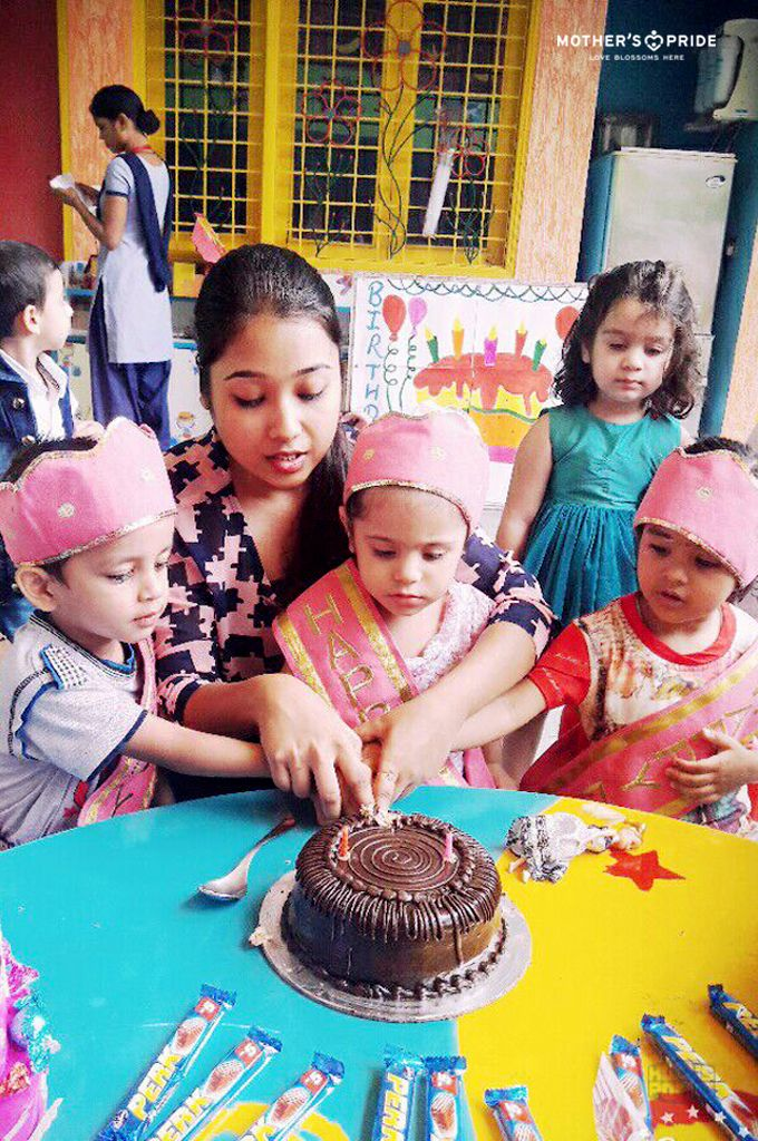 Prideens delightfully celebrated their birthdays with their Mother's Pride family. The children enjoyed cutting the cake, eating sweets, dancing to foot tapping music and had a gala time in a fun filled celebration at school as their teachers showered their heartfelt blessings on them. For Prideens their school indeed is a garden of love that nurtures and celebrates childhood to the fullest.