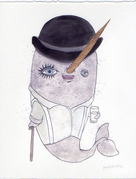 "It would definitely take an artist to combine ""Clockwork Orange"" with... a narwhal. Ink and watercolor, $18 on Etsy."