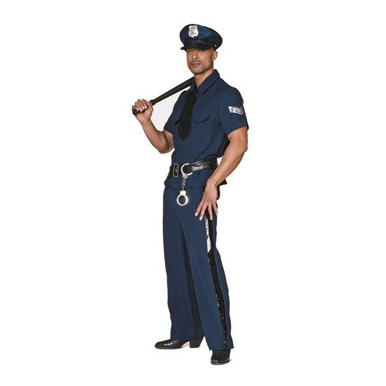 Grote maten verkleedkleding politie  Grote maten politie kostuum. Politiekostuum voor heren bestaande uit een blauwe broek met een zwarte streep langs de zijkant. Een blauwe blouse met korte mouwen inclusief zwarte stropdas en een zwarte riem.  EUR 49.99  Meer informatie