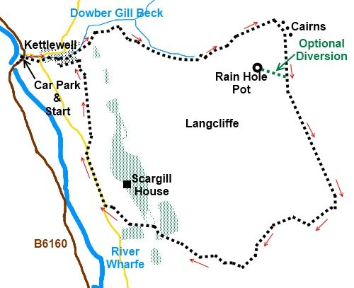 Yorkshire Dales walk Kettlewell and Lancliffe Fell - sketch map