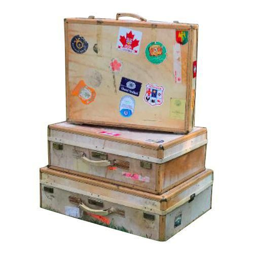 3 Travel Suitcases, Vintage Stickers, Trio of Stacking Cases - Image 1 of 7