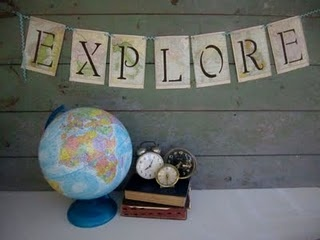 amongst all the fabric pennant banners these days, LOVE this one. Could use the travel themed fabric I have and then applique black (or blue?) letters....very nice!  (also, do one in each boys' name to label his desk???)