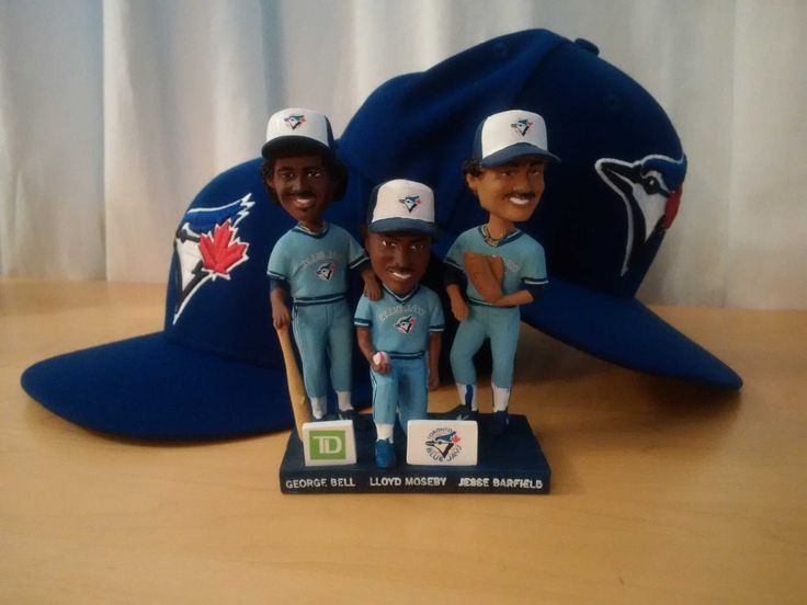 Toronto Blue Jays remembering players from our past - 2015 Bobbleheads of Bell, Moseby and Barfield.