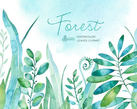 Forest watercolor leaves. 18 handpainted clipart by OctopusArtis