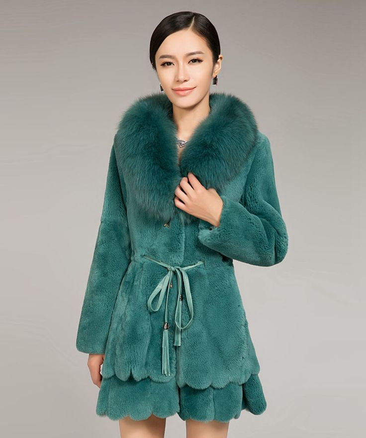 Rex Rabbit Fur Fox Collar  Women Clothing Jacket Cardigan Coat Overcoat Garmet #Furfox