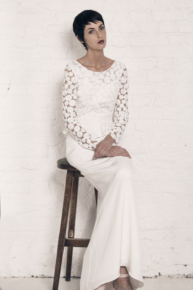 Modern wedding dress for the contemporary bride. Angelina top, Marion dress. Silk moroccain gown with puddle train. Circle embroidery top with mini peplum and scalloped edges.
