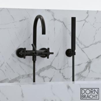 Dornbracht Tara. wall-mounted bath mixer with hand shower set & cross handles matt black