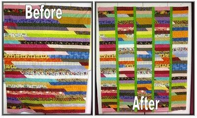 Using sashing to break up the pattern for a jelly roll race quilt - I like!! It's like a race quilt meets a coin quilt...