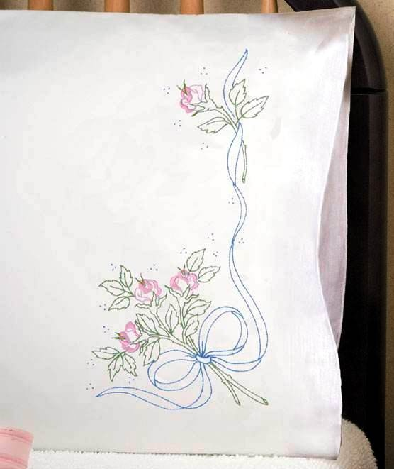 Tobin Stamped #embroidery  RIBBON ROSE #pillowcases #DIY #crafts