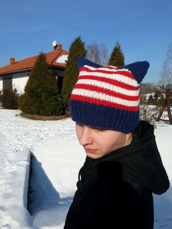 Powerhat Powerhatcat American Cat Hat Cat Hat by Isabellwoolstudio #cathat, #Pussyhat