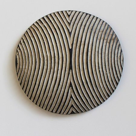 Traditional South African wood carved round Zulu Shield. Bold Black #africanart #pattern #africa At MIX Furniture Los Angeles